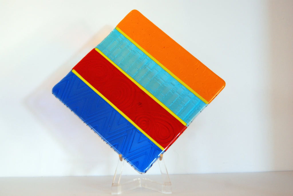 """Stay in Your Lane"" Fused Textured Glass Platter or Wall Art 8.5"" Square"