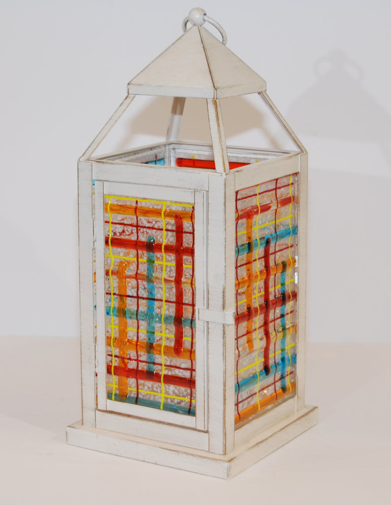 Lantern with Plaid Fused Glass Panels