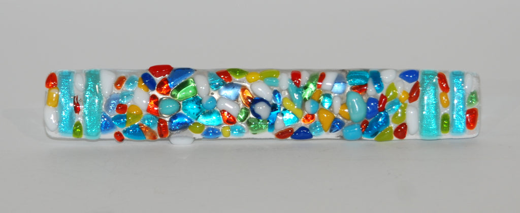 "Cabinet Pull made of Fused Glass Nuggets  7"" L"