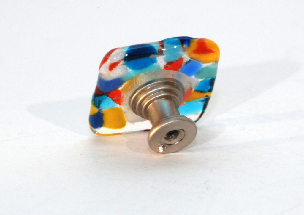 "Cabinet Knob made of Fused Glass Nuggets 1.5"" Square"