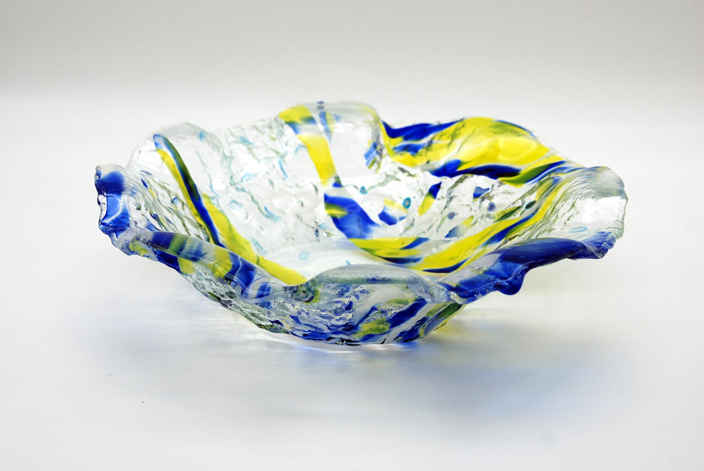 "Blue/yellow on clear abstract-shaped 12"" Bowl"