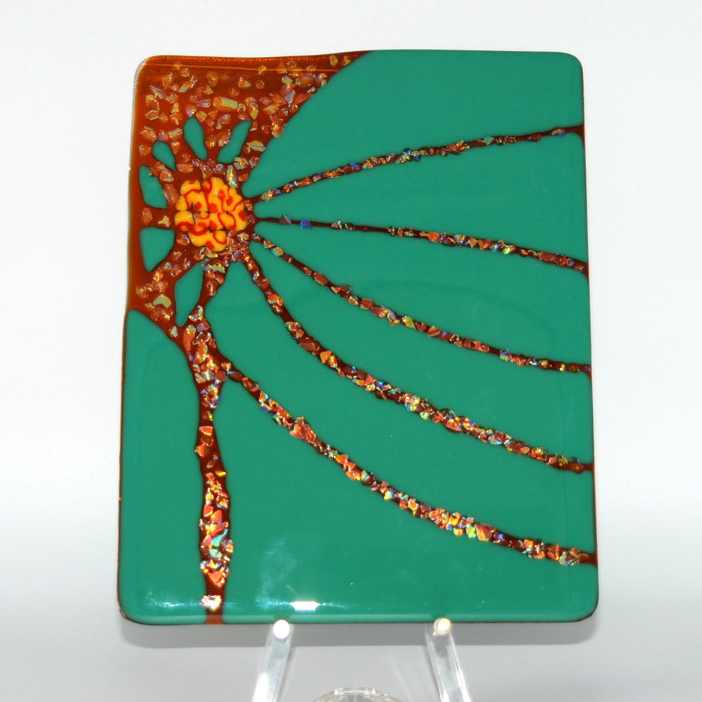 "Sunset Shattered Glass Panel of Amber in Sea Green with sparkling dichroic frit (8"" x 10"")."
