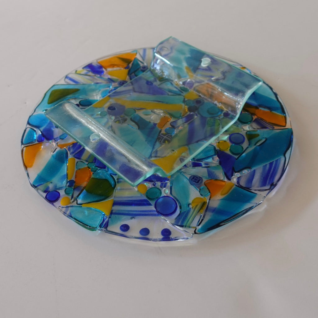 "10.5"" Art glass disc: Blue Moon Puzzle Pieces"