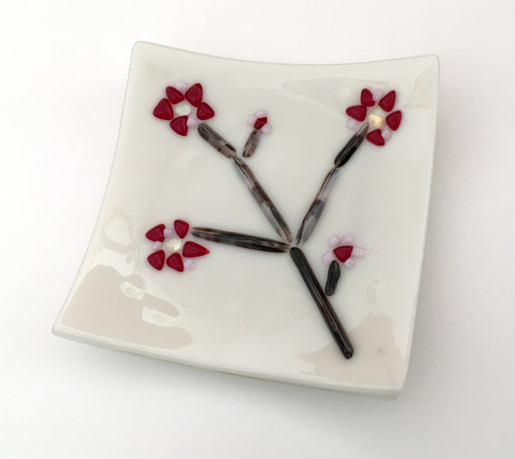 Cherry Blossoms Fused Glass Appetizer Plates Set of 4