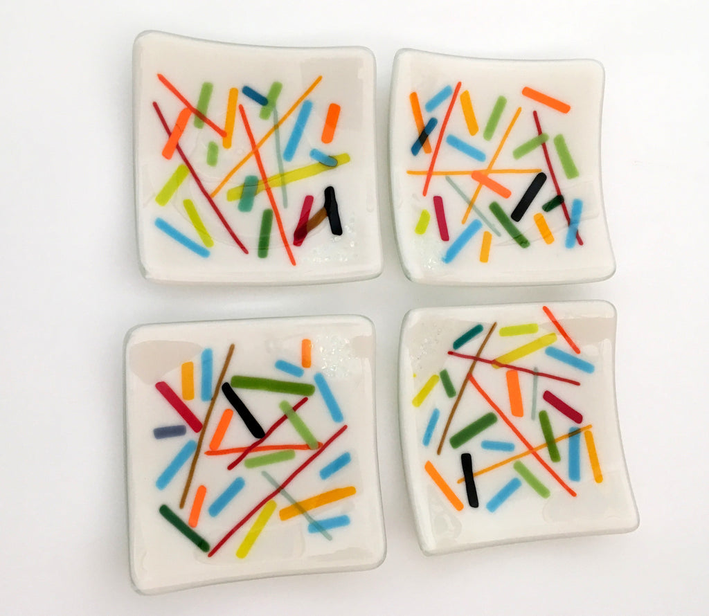 White with Multi-colored Accents Fused Glass Appetizer Plates Set of 4