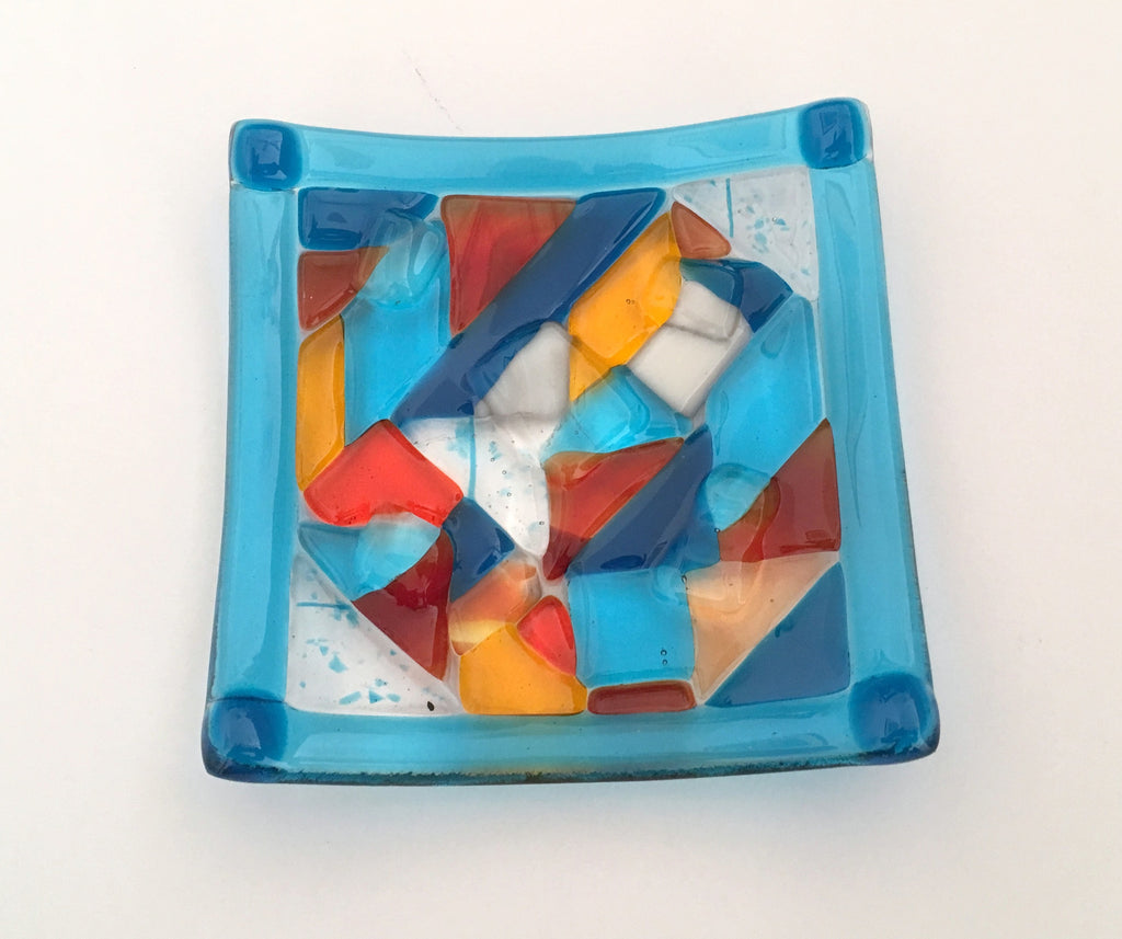 """Crazy Quilt"" Turquoise Trinket Plate"