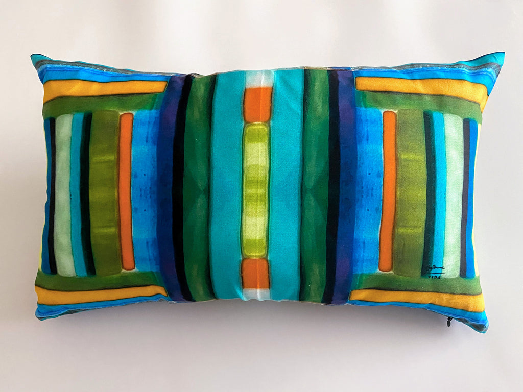 Oblong Pillow- Linear Spring Colors Collection