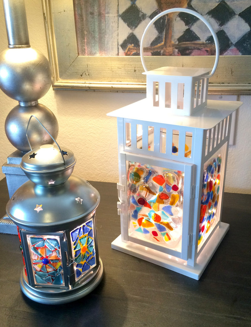 "Lantern ""Lighten Up"" with Fused Glass Panels 12"" High 6"" Square"