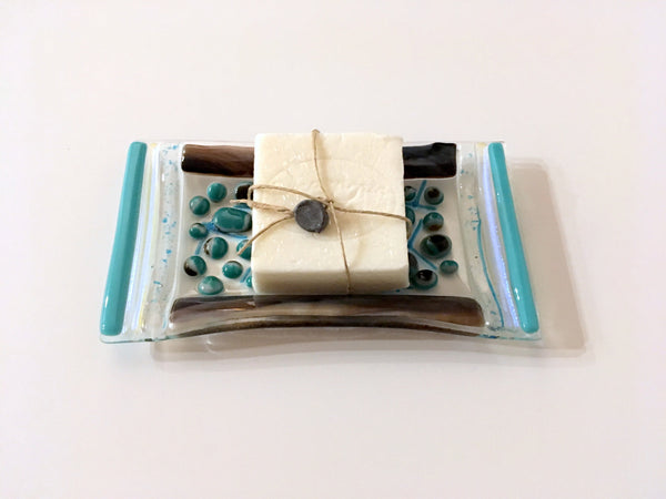 Fused Glass Trinket or Soap Dish in Aqua and Brown