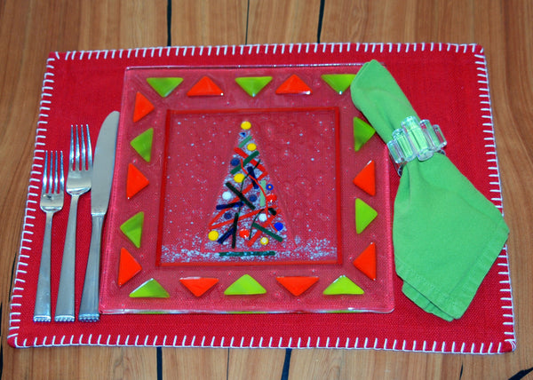 "Christmas Plate 11"" Fused Glass Multicolor"