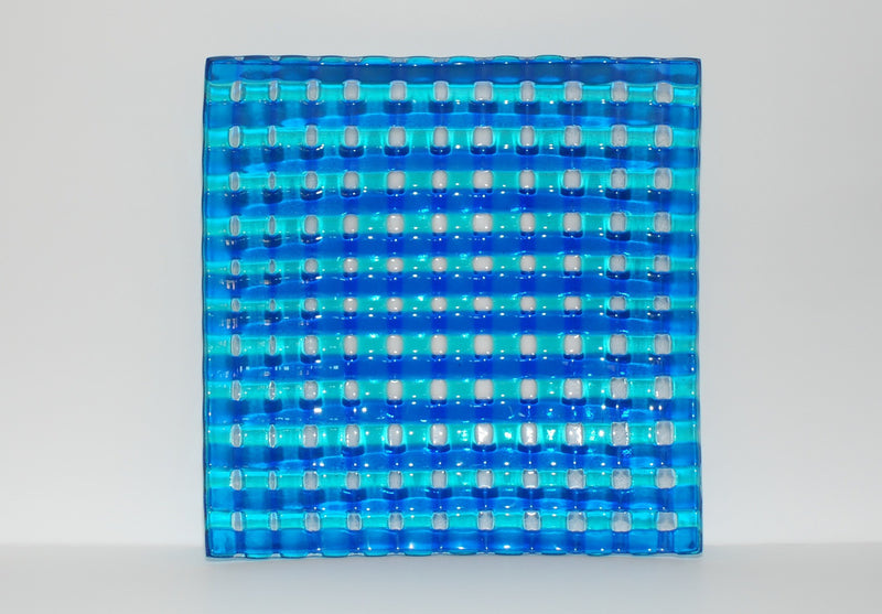 """Criss Cross"" Shades of Blue Lattice Fused Glass Plate 11"" Square"