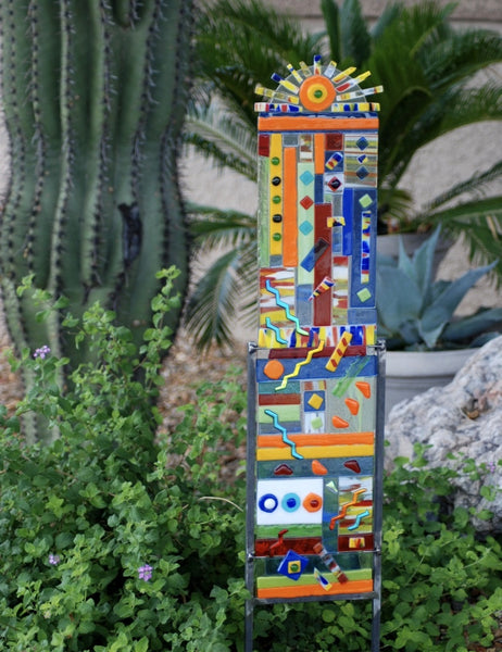 """Sunshine"" Multi Color Fused Glass Totem Small 27"" High 6"" Wide"