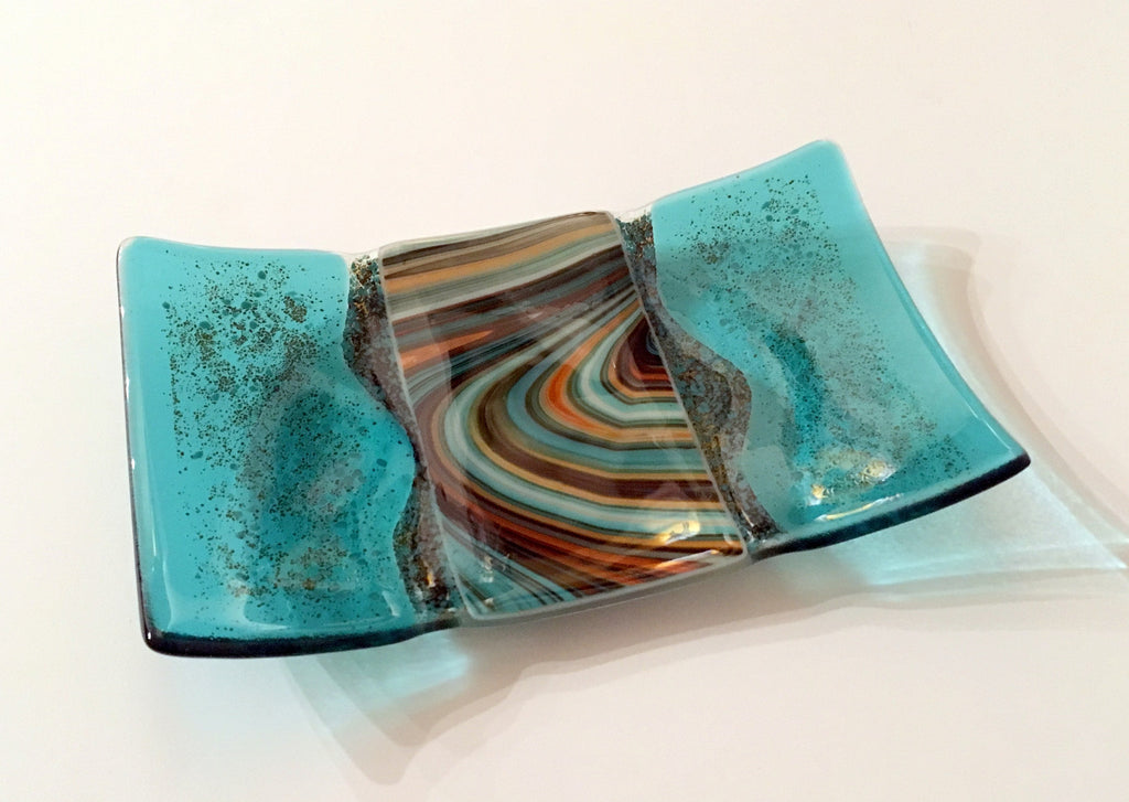 River Platter Turquoise and Amber Fused Glass