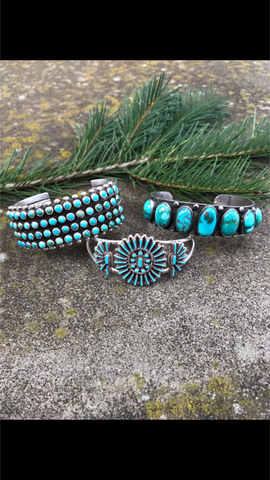 Turquoise cuffs from our heritage jewelry collection