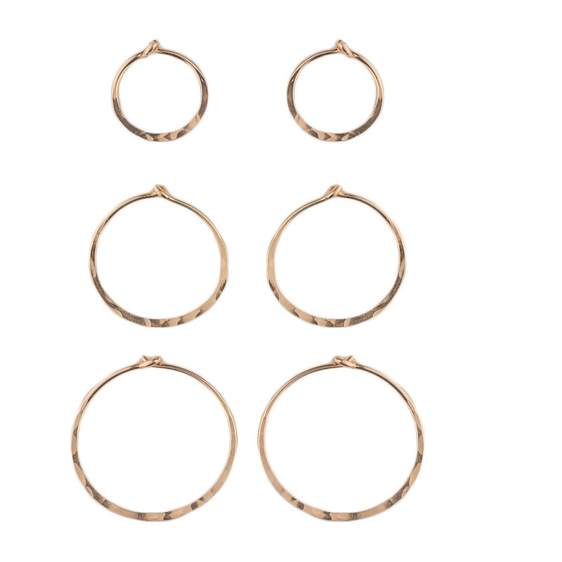 Tiny Rose Gold Hoops - 3 Pack