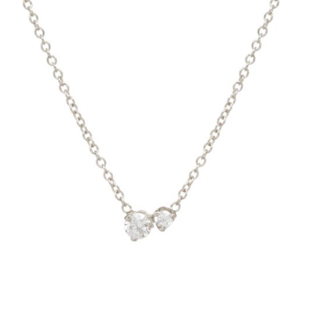 Two Prong Diamond Necklace