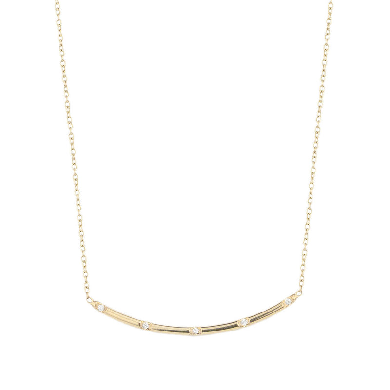 Curved Bar w Diamonds Necklace