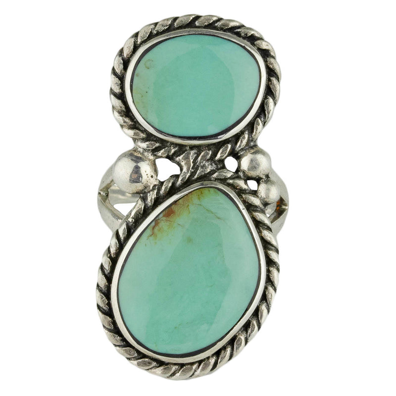 Stacked Double Green Turquoise Ring