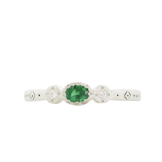 Oval & Round Emerald Charm Ring