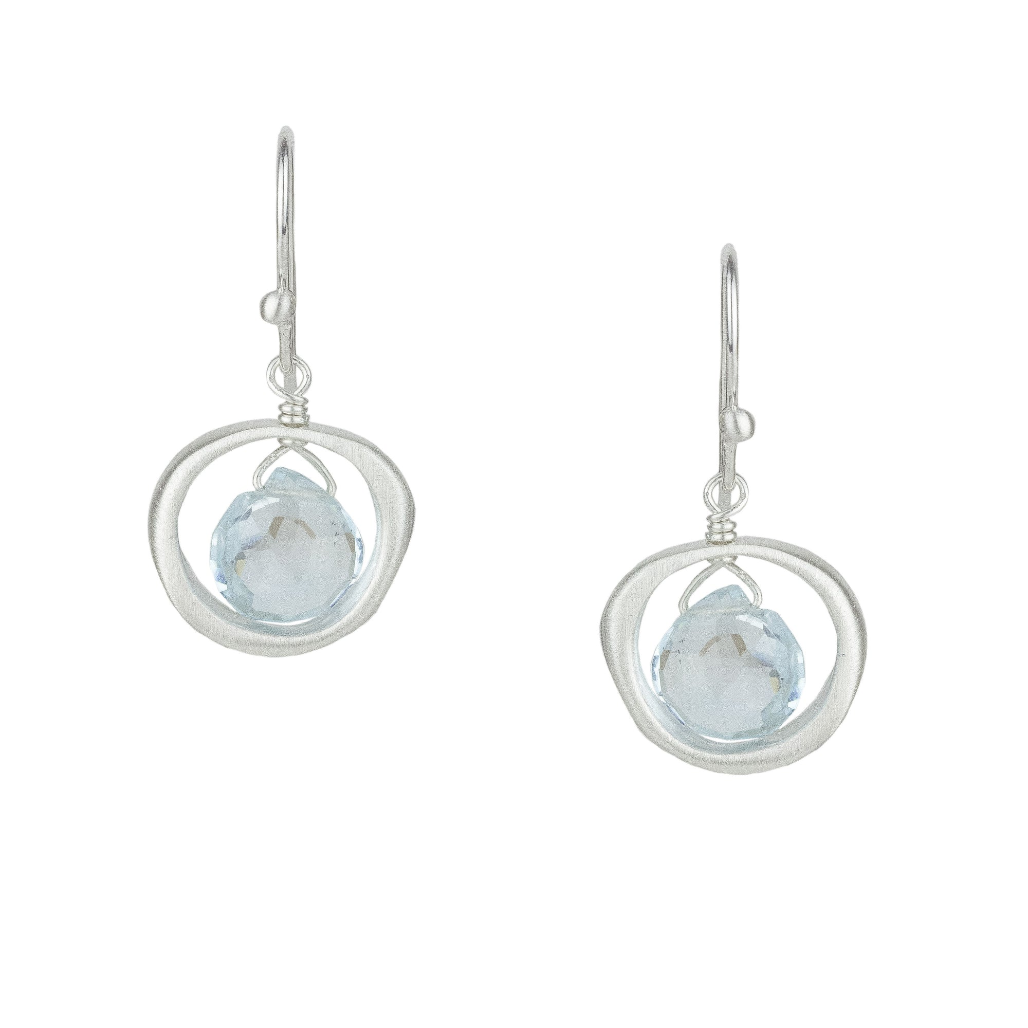 Organic Circle Earrings w Blue Topaz