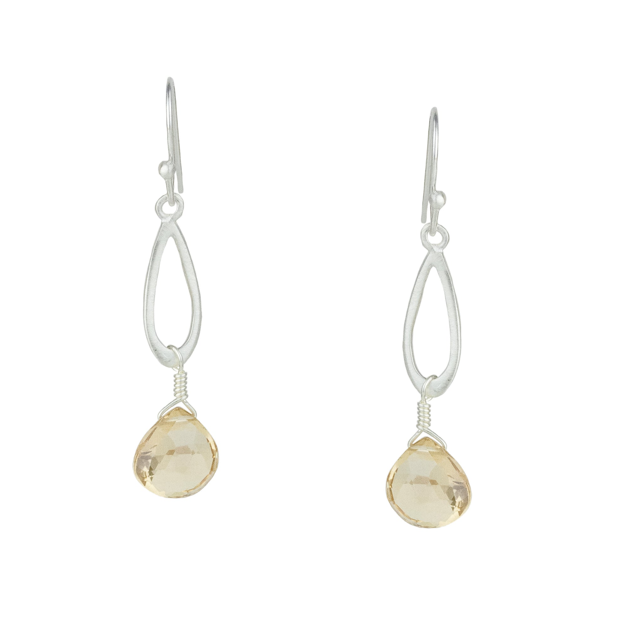 Small Champagne Quartz Drop Earrings