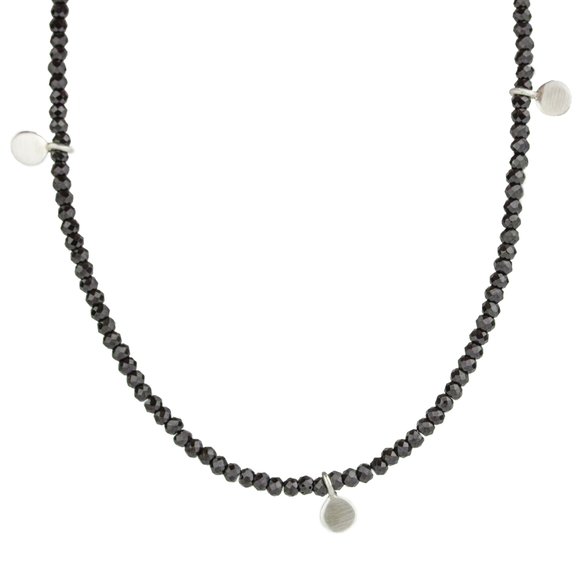 Black Spinel + Paillette Necklace