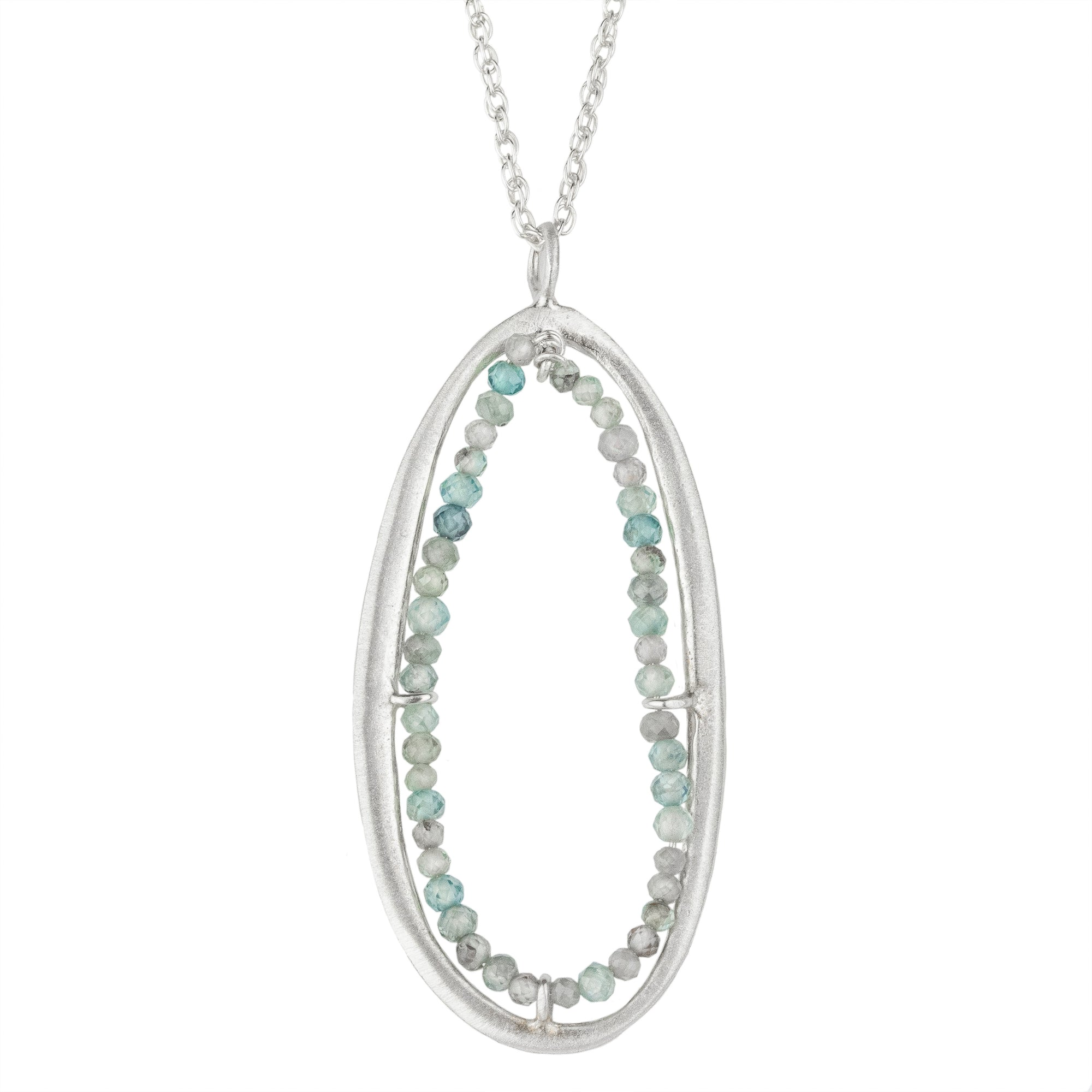 Organic Oval with Blue Zircon Necklace