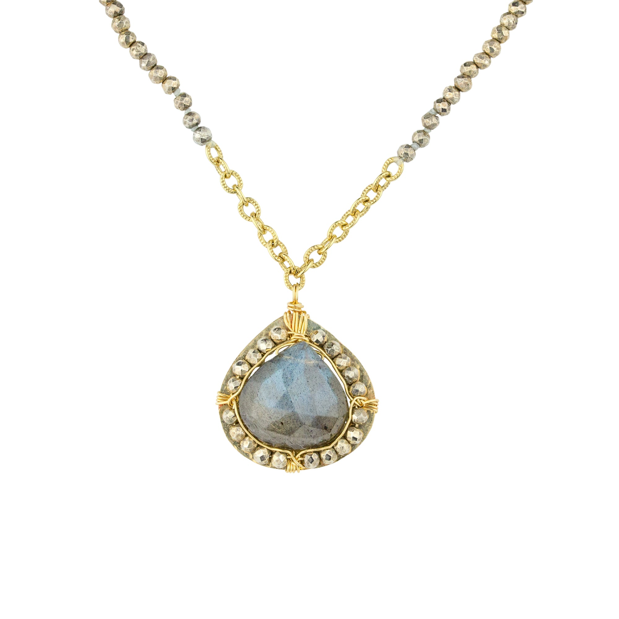 Labradorite with Pyrite Halo Necklace