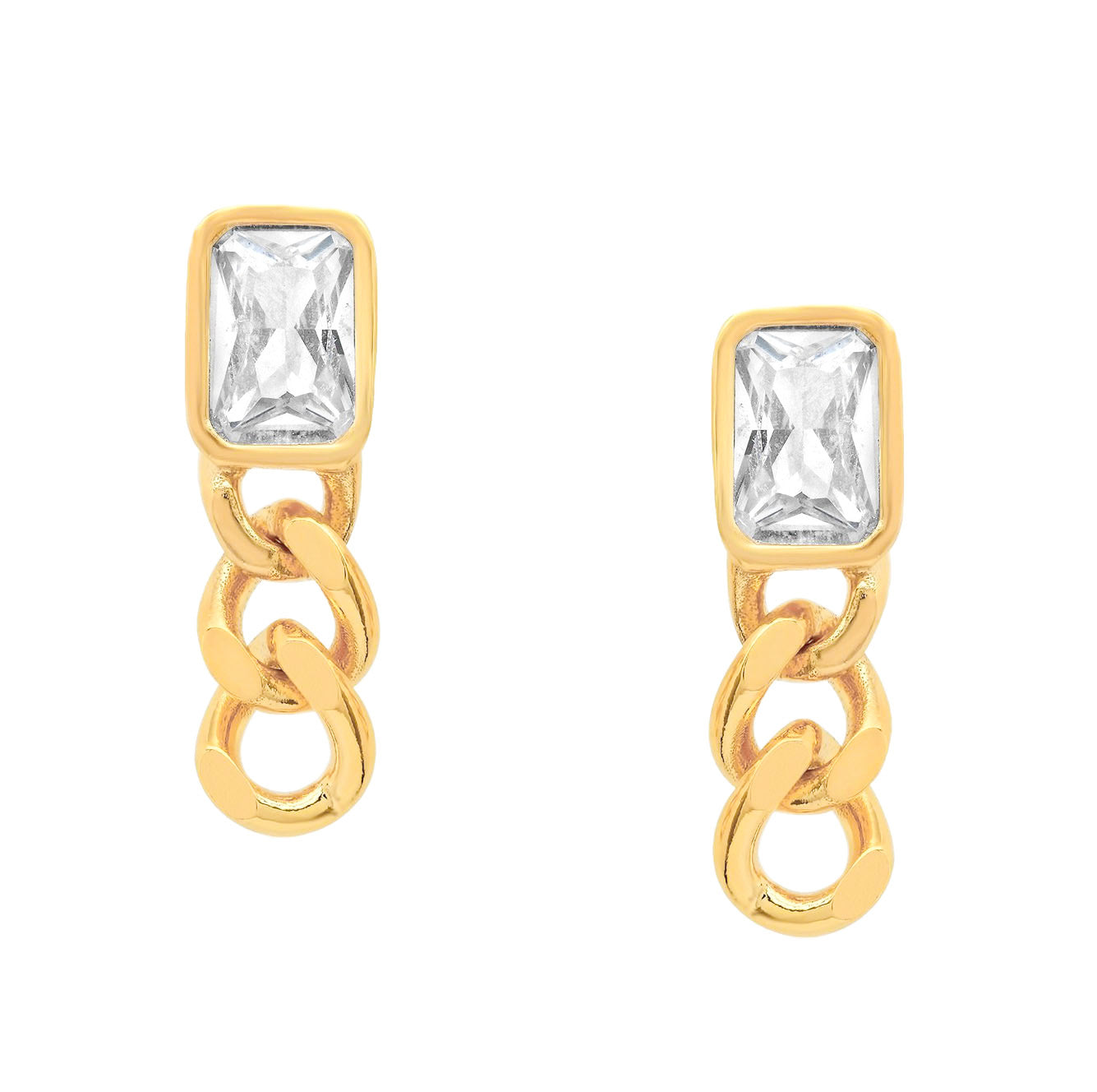 Chain Drop Stud Earrings