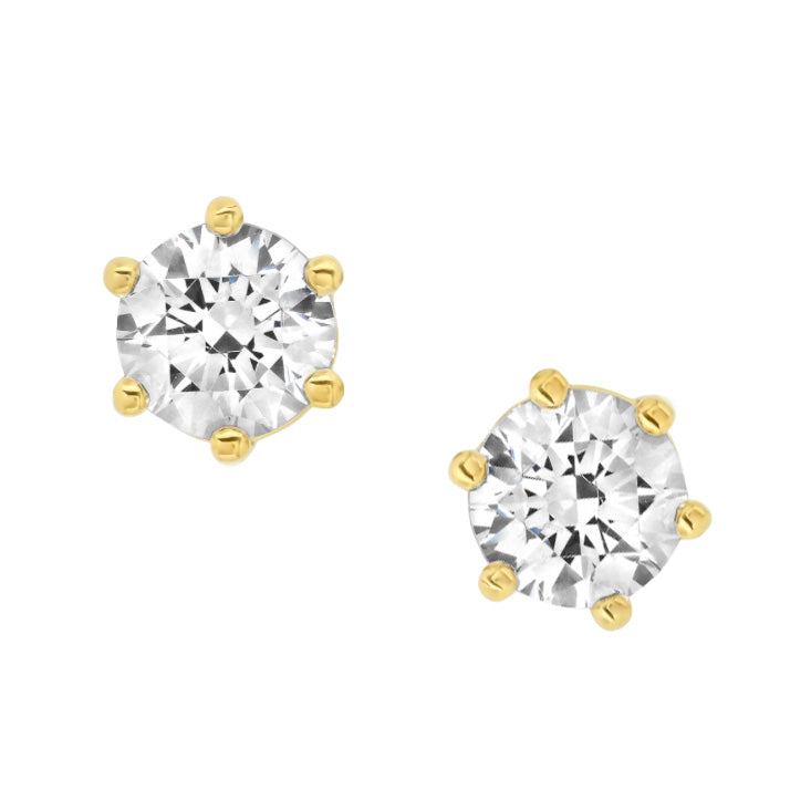 6 Prong Stud Earrings