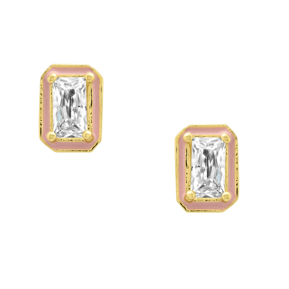 Baguette with Pink Enamel Stud Earrings
