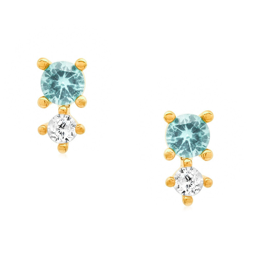 Aqua Color Mix Stud Earrings