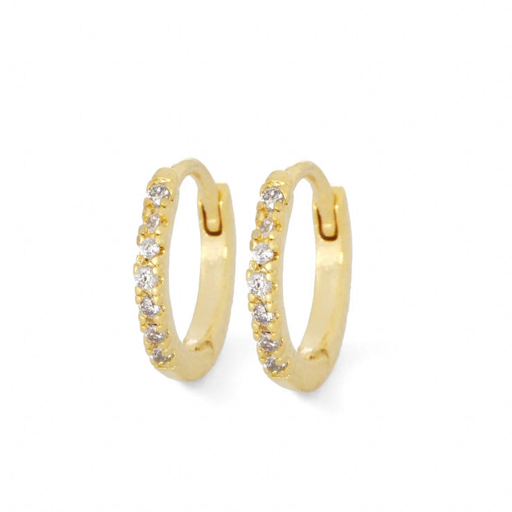 Small Pave CZ Huggie Hoops