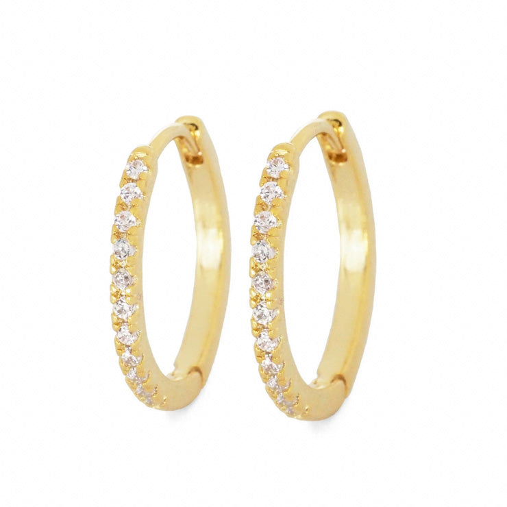 Large Pave CZ Huggie Hoops