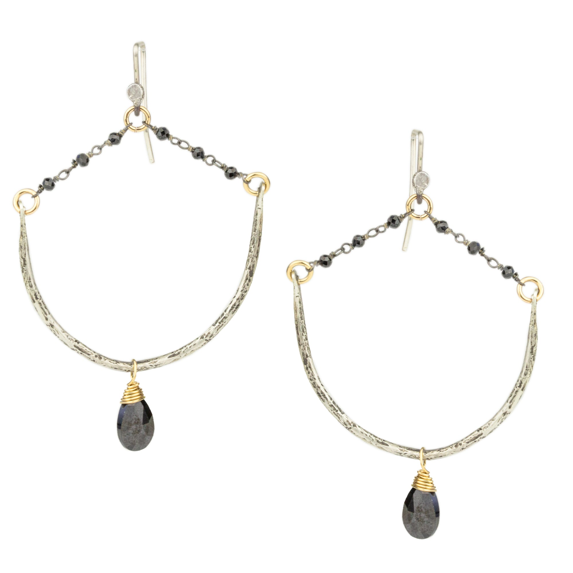 Black Spinel Rosary Earrings