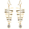 Grey Moonstone Fishbone Earrings