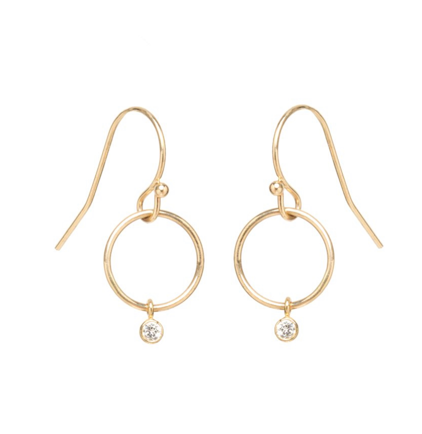 Tiny Drop Circle Earrings