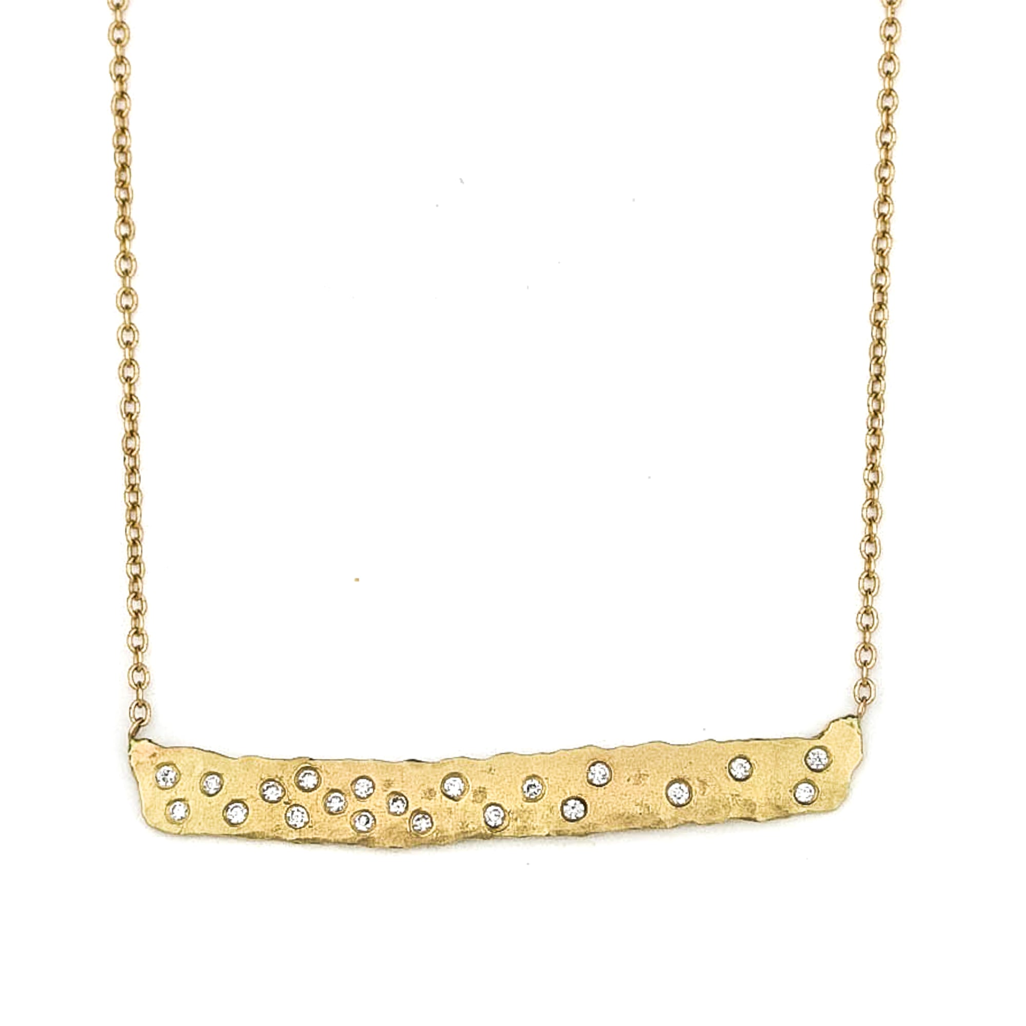Scattered Diamond Bar Necklace