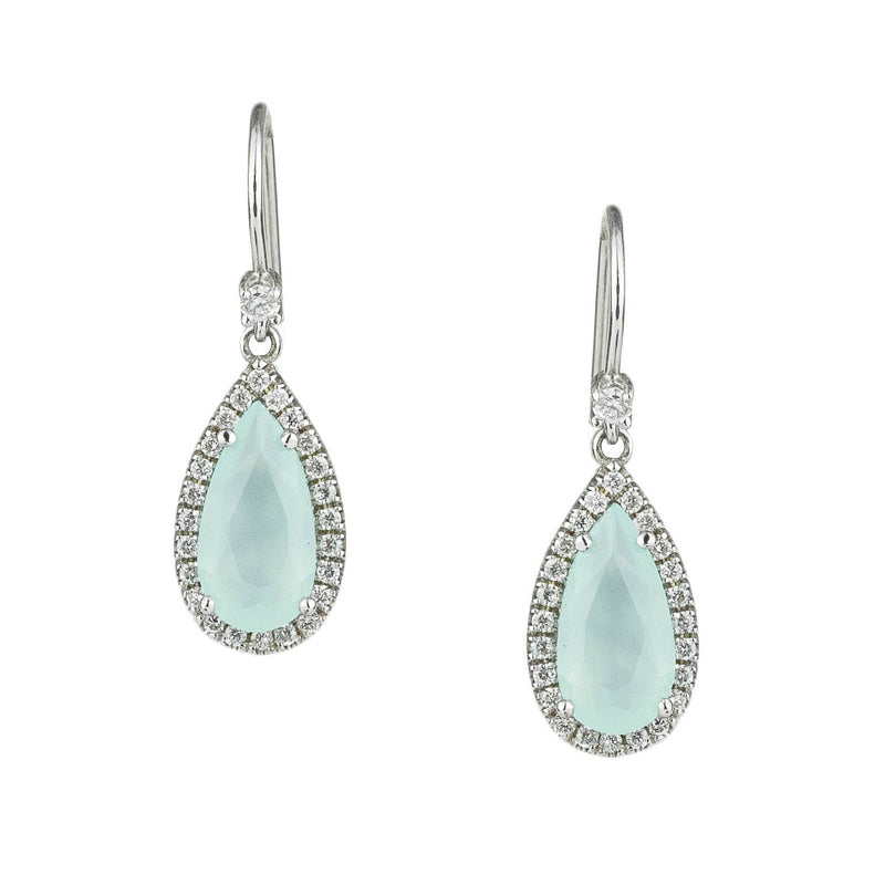 Aqua Chalcedony w Halo Earrings