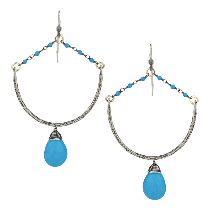 Turquoise Rosary Drop Earrings