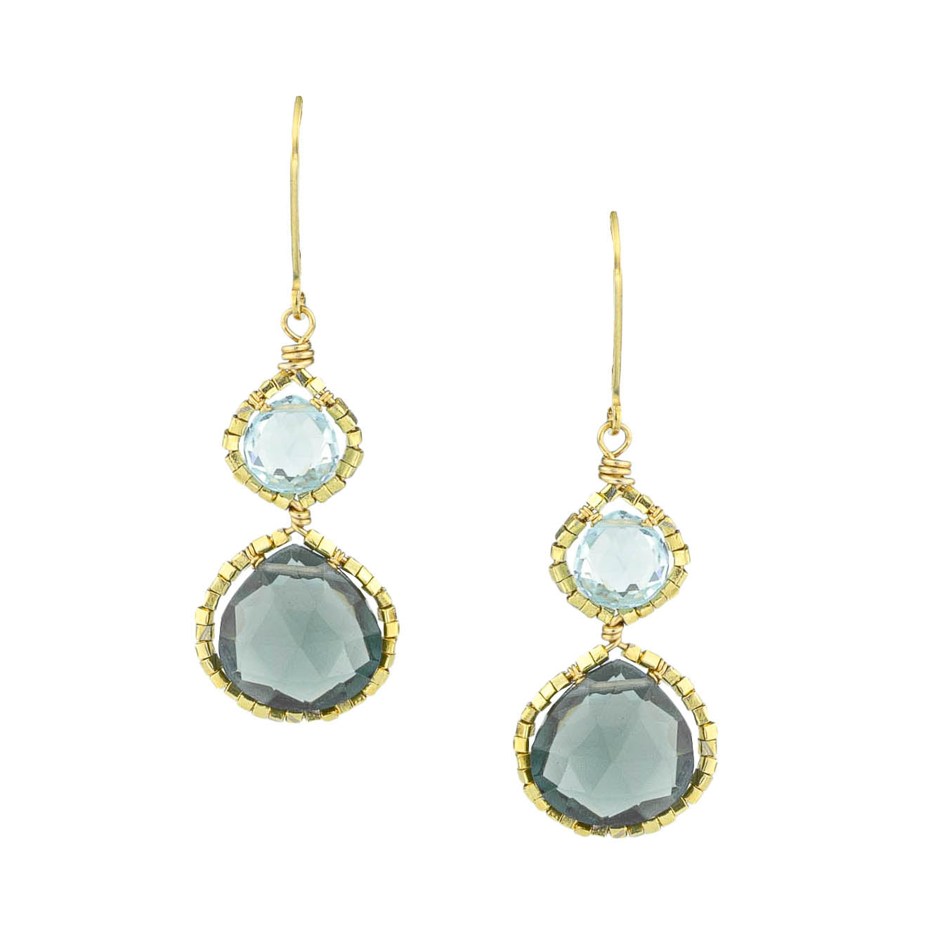 Blue Topaz and Quartz Earrings
