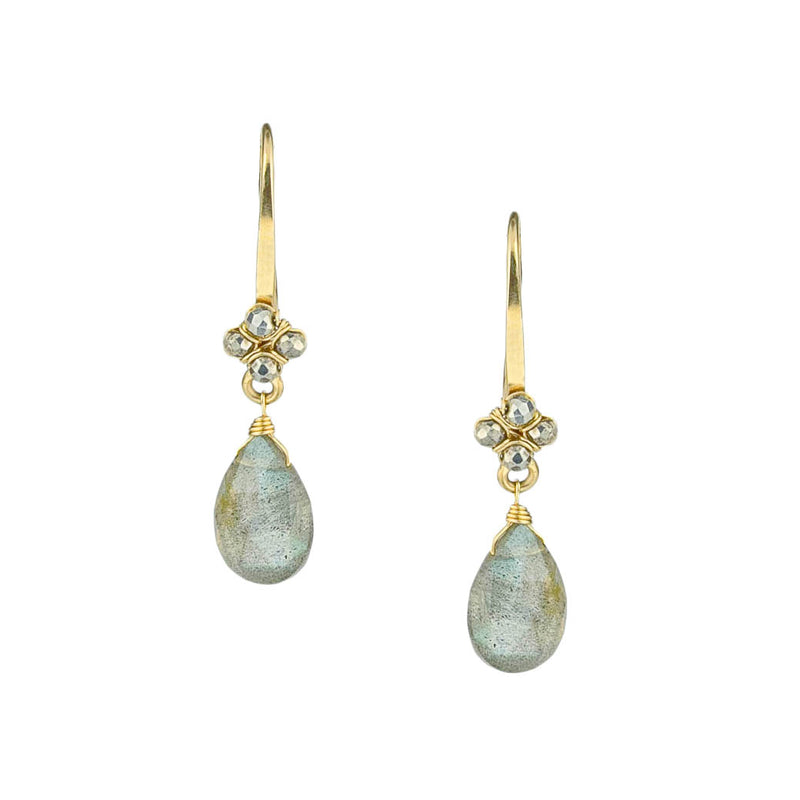 Labradorite and Pyrite Droplet Earrings