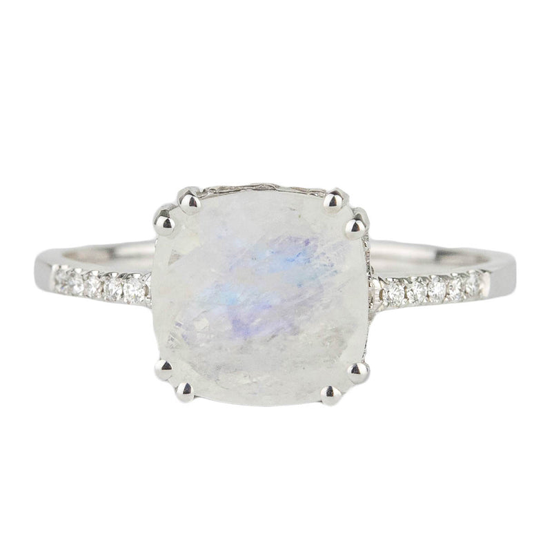 Rainbow Moonstone + Diamond Ring