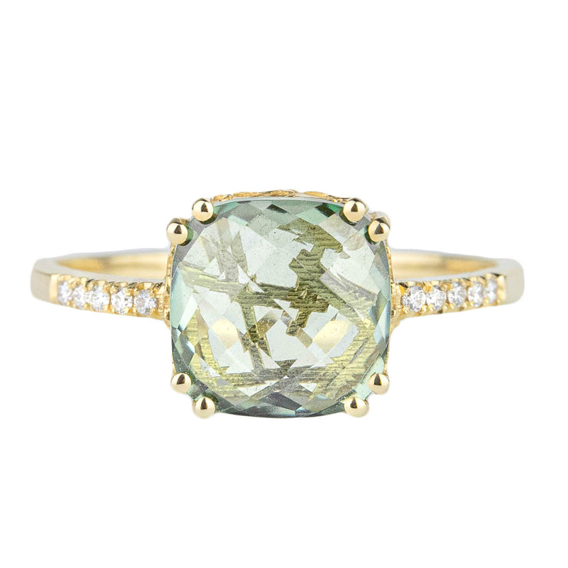 Green Topaz + Diamond Ring