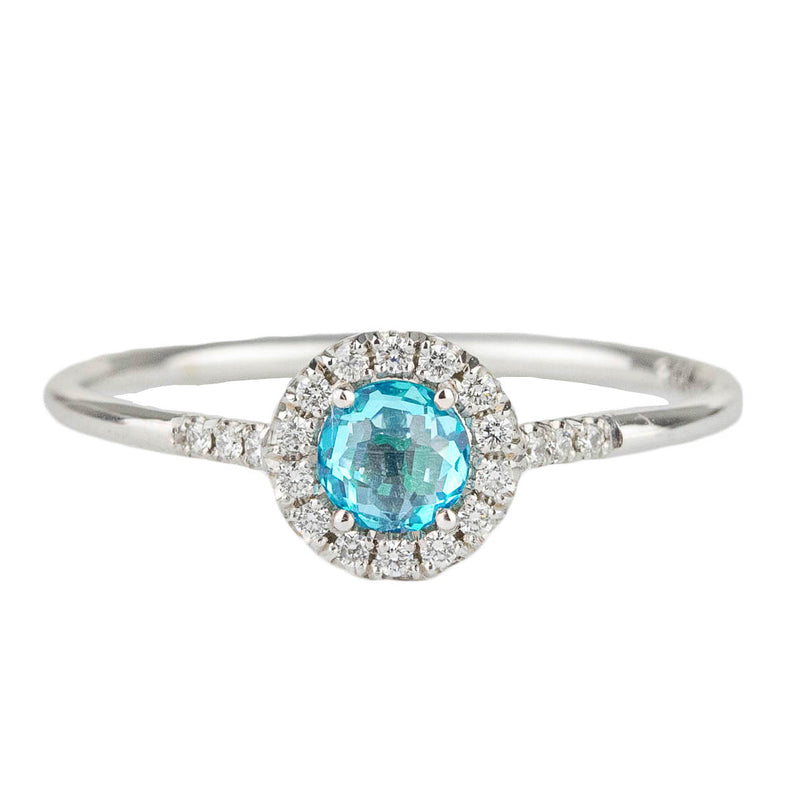 Paraiba Topaz Halo Ring