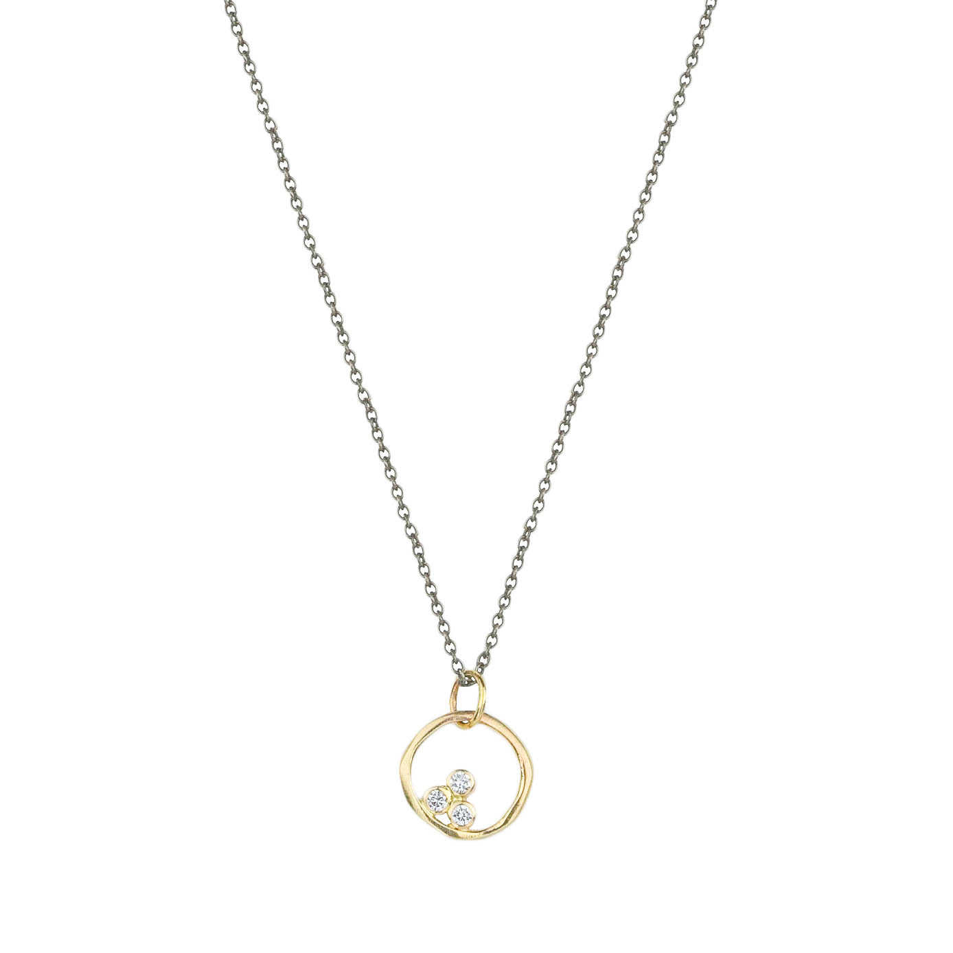 Organic Three Diamond Circle Necklace