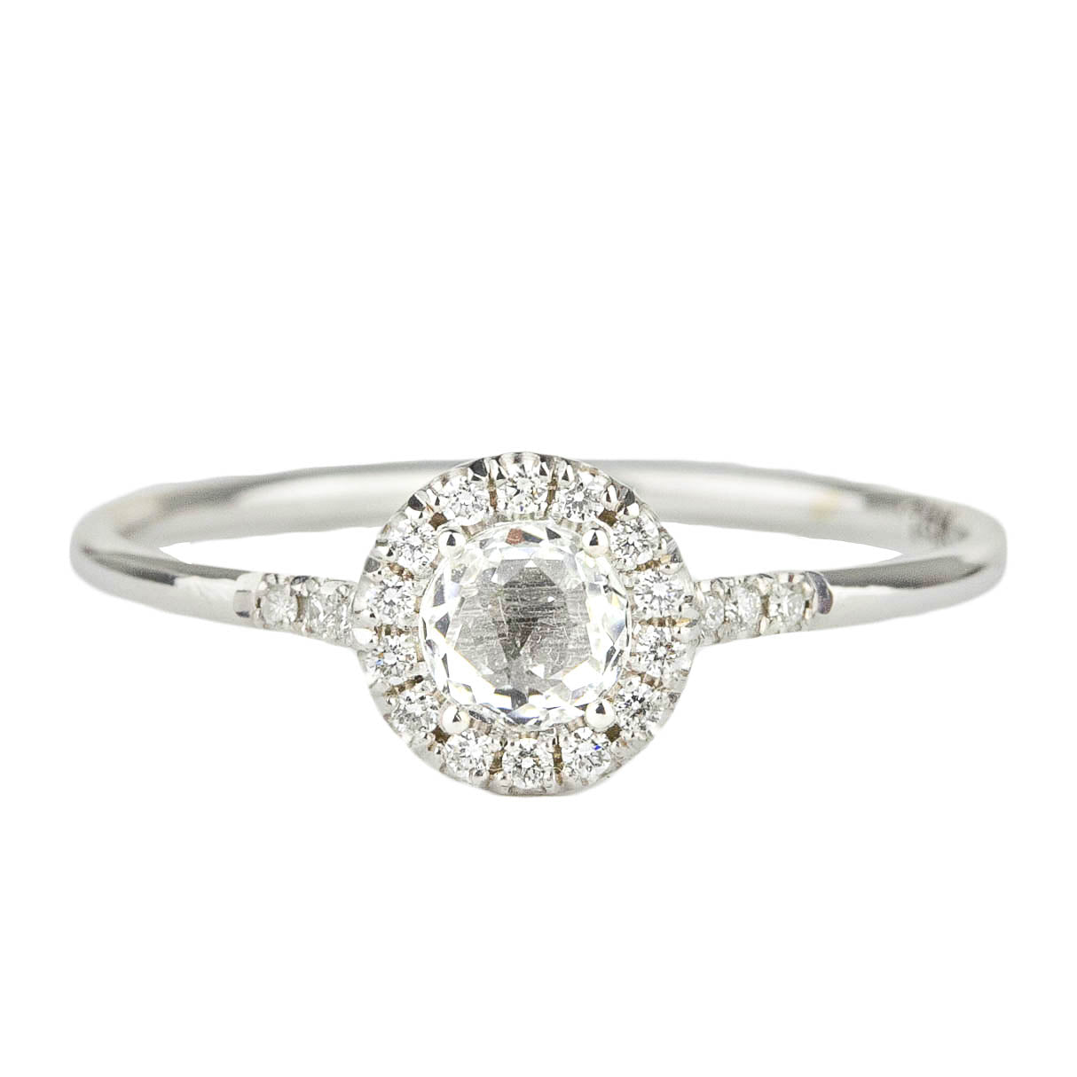 White Topaz Halo Ring