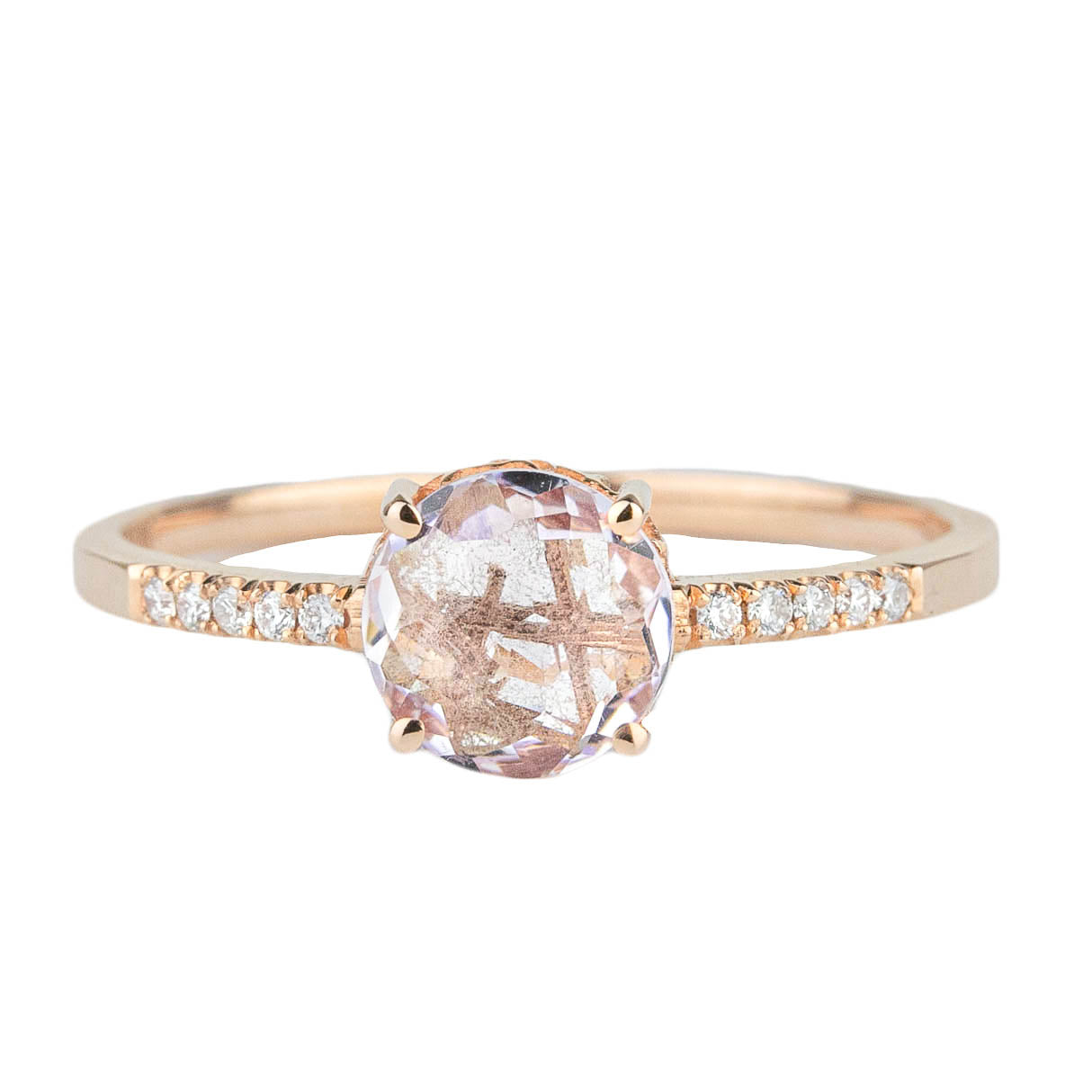 Rose Topaz + Diamond Ring