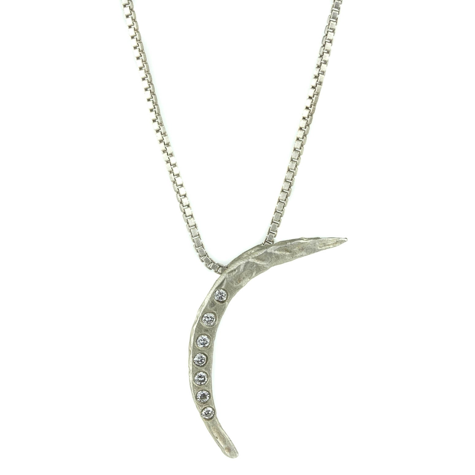 Silver Moon Diamond Necklace