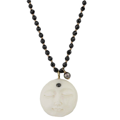 Moon and Black Spinel Necklace